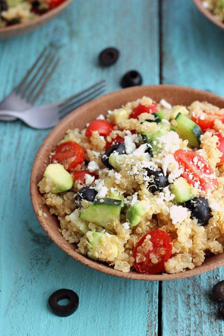 ... salad is doused in a simple greek salad dressing and topped with feta