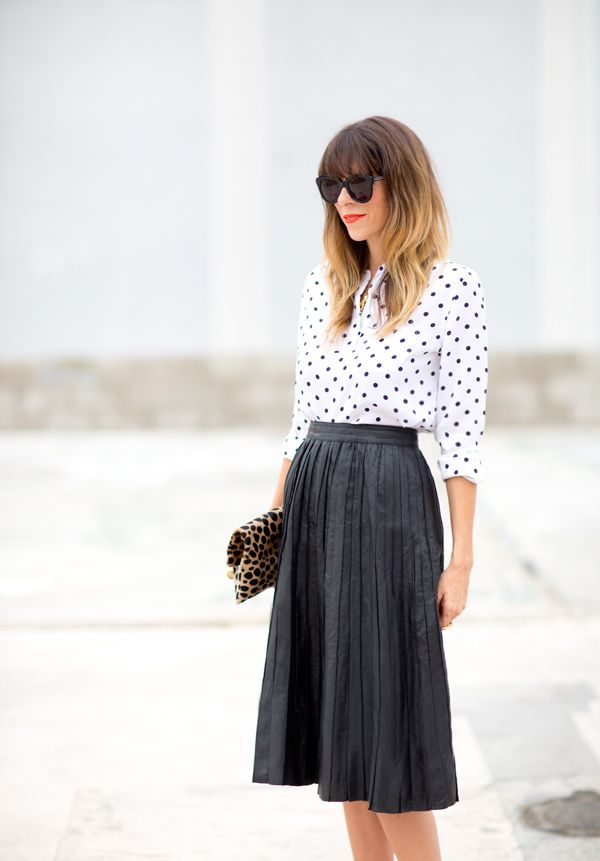 polka dots blouse and black skirt