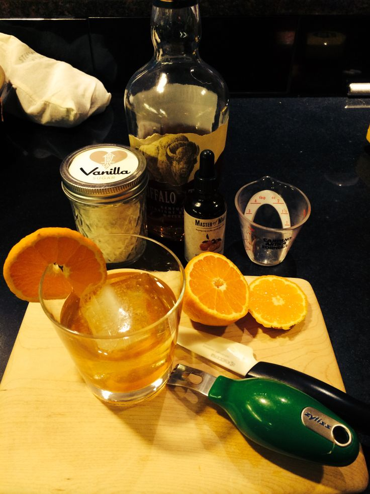 ... with orange peel and orange bitters. Add 2oz bourbon, ice, garnish