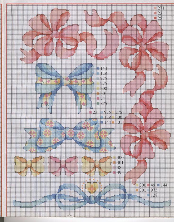 Вышивка крестом девочка с бантиками 33