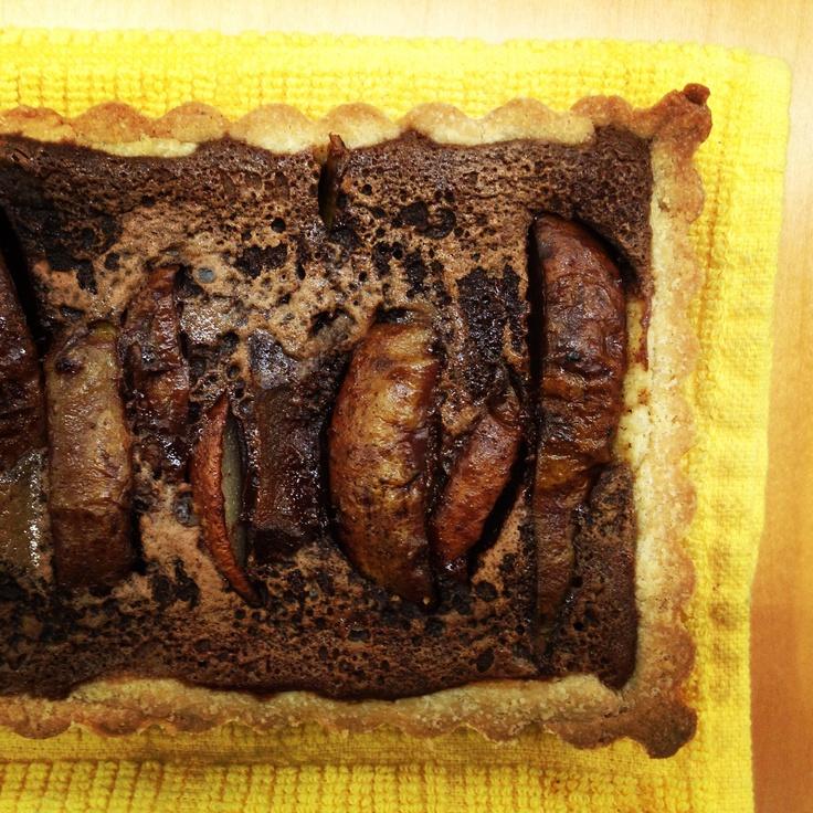 chocolate pear custard tart with almond shortbread crust by @nandita ...