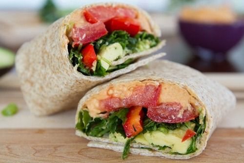dailychow sneaky red lentil hummus amp kitchen sink veggie wrap