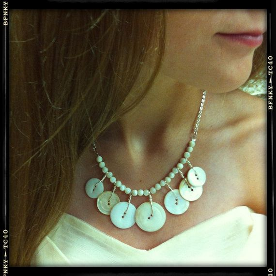 Vintage White Button Necklace with Antique by LilyHillVintage, $19.00 @Torre Hanvey we need 2 make!