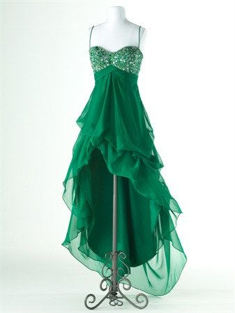 Alluring A-line Spaghetti Straps High-Low Prom Dress with Sequins