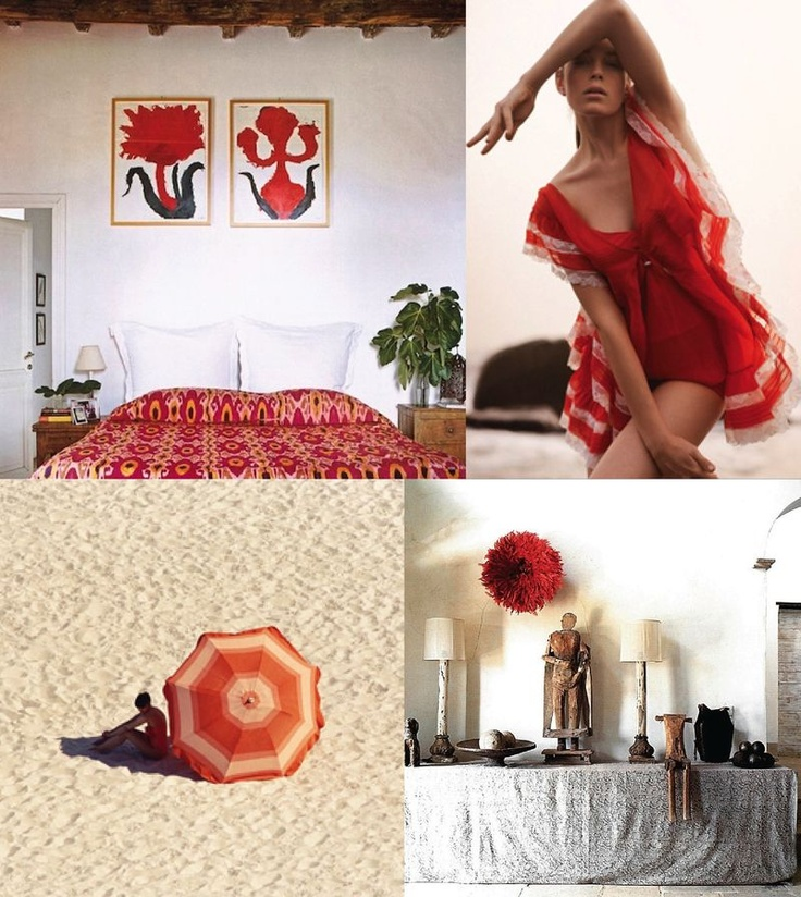 red & white: love those paintings over the bed!
