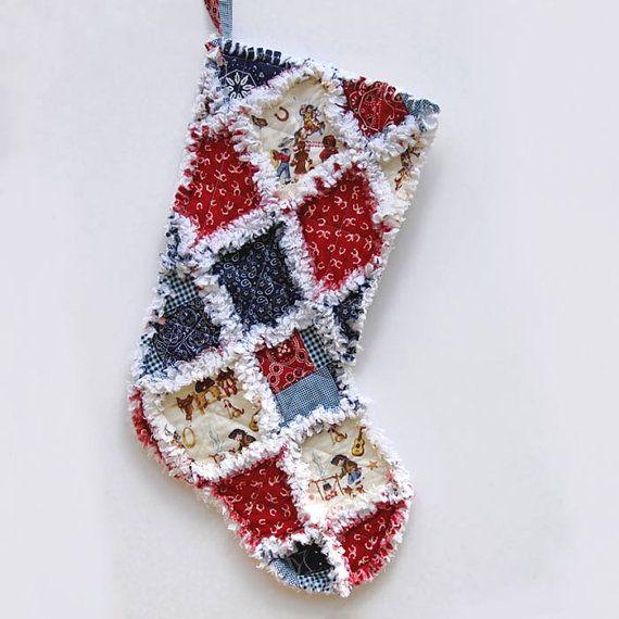 ... Christmas Stocking - Cowboy Stocking - Rag Quilt Stocking - West