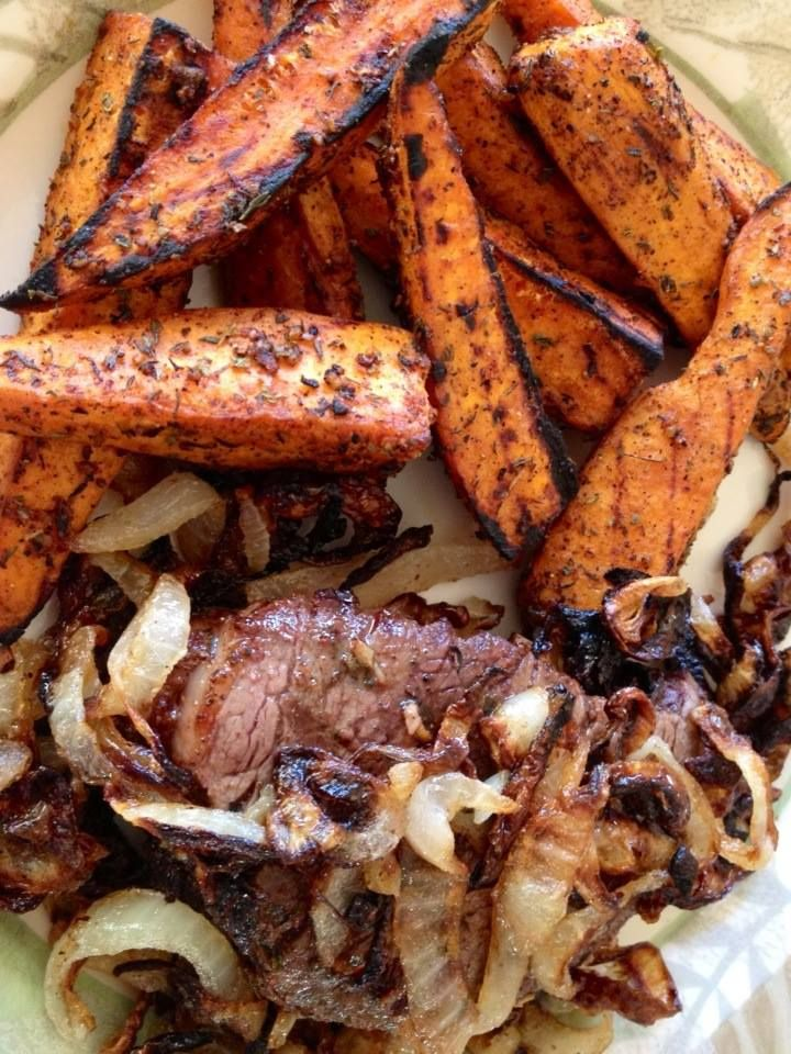 Grilled Cajun Sweet Potato Wedges and Filet Mignon with Duckfat-Fried ...