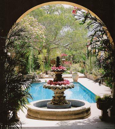 Hacienda courtyards google search in the garden for Garden pool book