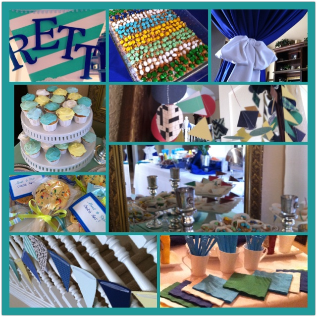 co ed baby boy shower decor using nursery colors as the theme