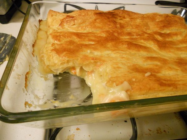 Chicken Pot Pie with Puff Pastry top. Delicious! I served one and put ...
