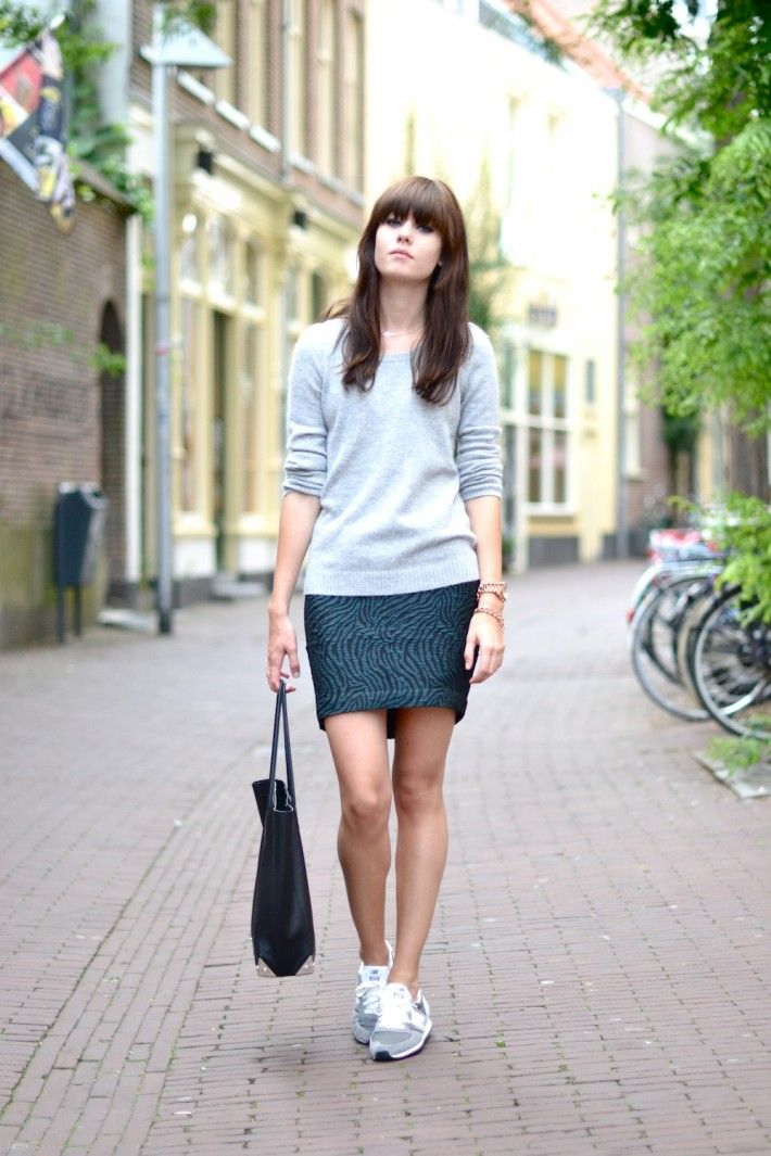 Outfit new balance sneakers and mohair knit......everything, bangs, sweater, skirt, bag,gray NBs......<3