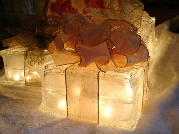 Lighted glass block gift decoration - Glass block decoration ideas ...