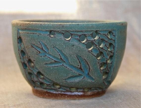 Clay Leaf Votive Candle Pot