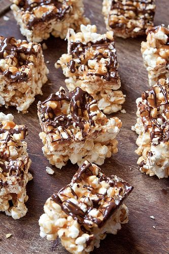 salted caramel and chocolate popcorn bars