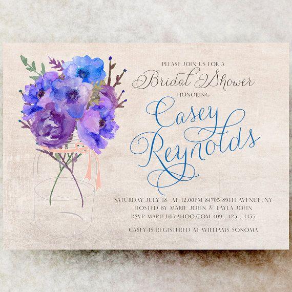 Mason Jar bridal shower invitation Blue by DivineGiveDigital, $21.00