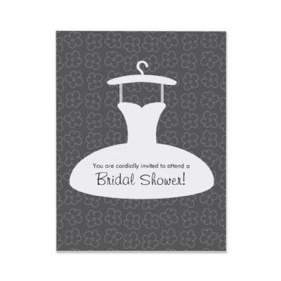 Modern wedding dress bridal shower invitation gray by deborah