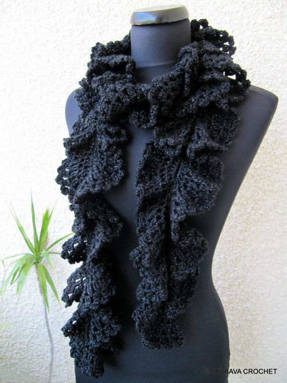 Crocheting Ruffle Scarf : Crochet Ruffle Scarf, Black Ruffle Lace Scarf With Red Rose Crochet F ...