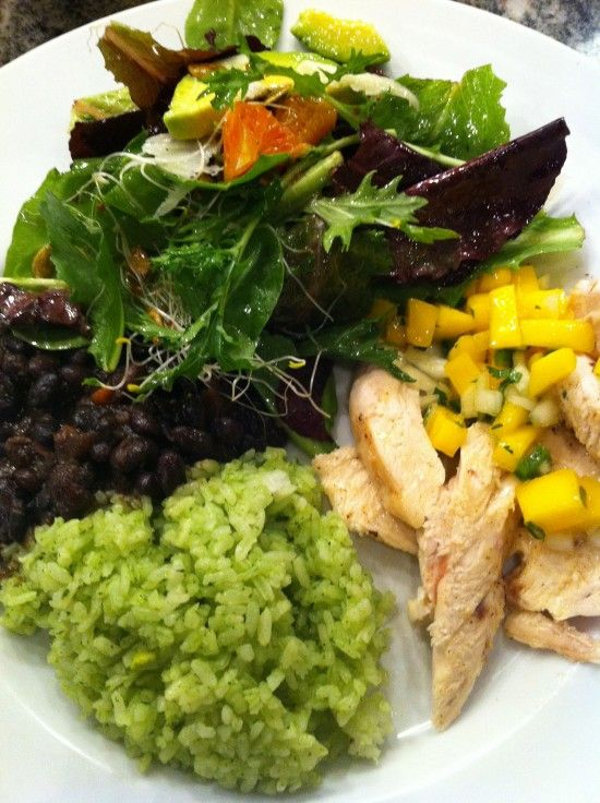 lime and chili roasted chicken with mango salsa, black beans and ...