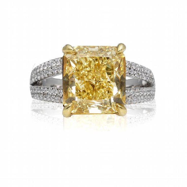 fancy canary yellow cushion diamond diamond rings