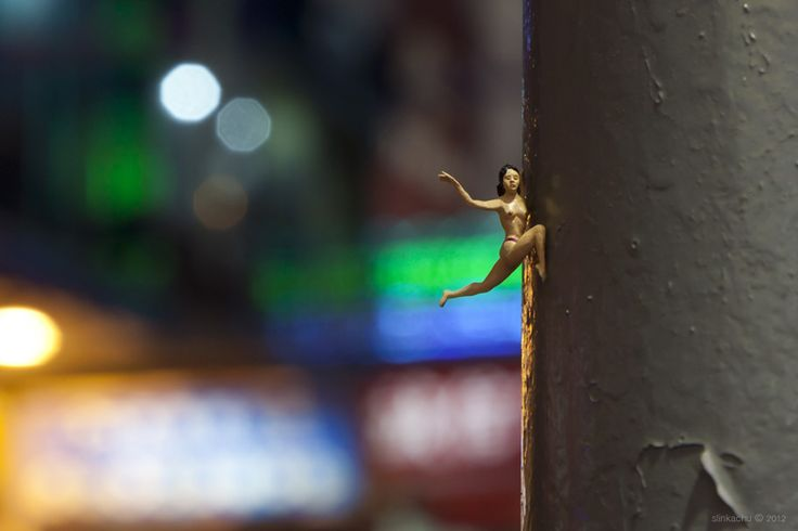 Hanging On   by slinkachu (miniature)