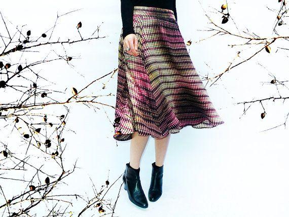 Skirt, Pink and Black Midi Skirt, Womens Spring Clothing, Pocket Skirt