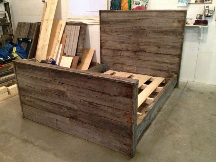 custom weathered barnwood bed frame for the home pinterest