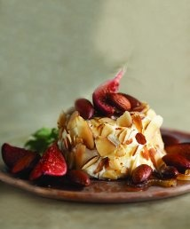 Baked Goat Cheese with California Almonds, Caramelized Onion, and Figs