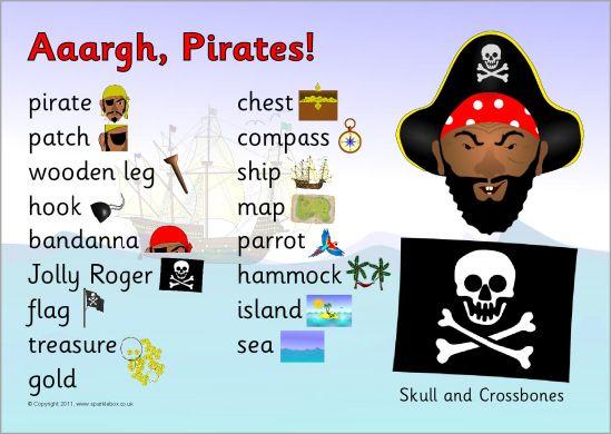 Pirates Word Mat Sb6011 Sparklebox Prek K Pirates