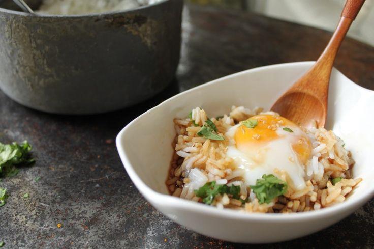 Poached Eggs Over Rice Recipe — Dishmaps
