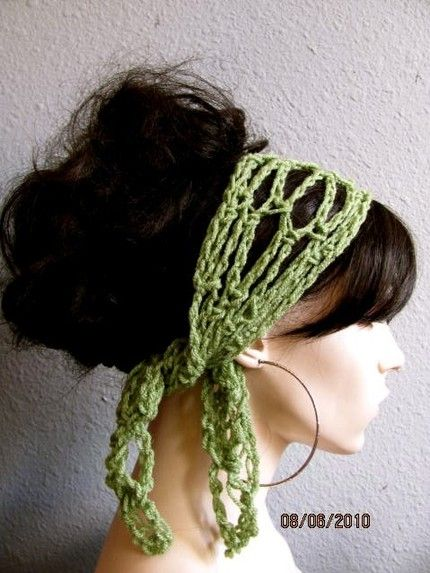 Crochet Gypsy Style Hair Band Pattern : Tea Leaf Green Hand Crochet Gypsy Style Hair Band and Scarf