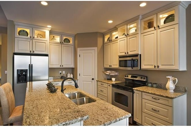 Stacked cabinets kitchen finish finally pinterest