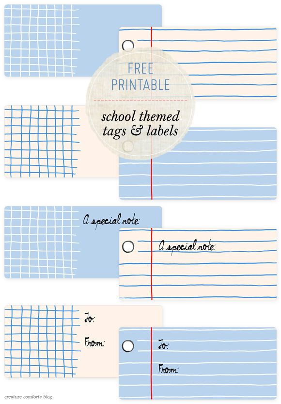 Free Printable: Back to School Themed Tags andLabels - via Creature Comforts #MomInc #DIY