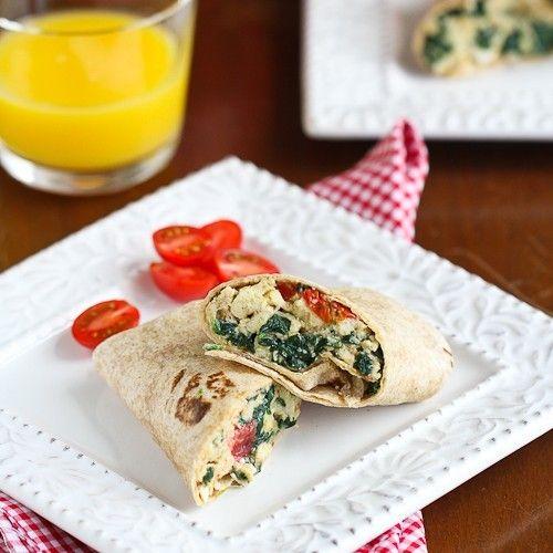 Scrambled Egg Wrap w/Spinach & Feta   food is fabulous   Pinterest