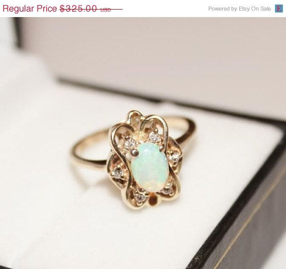 Vintage 14k Gold opal diamond ring Engagement Ring