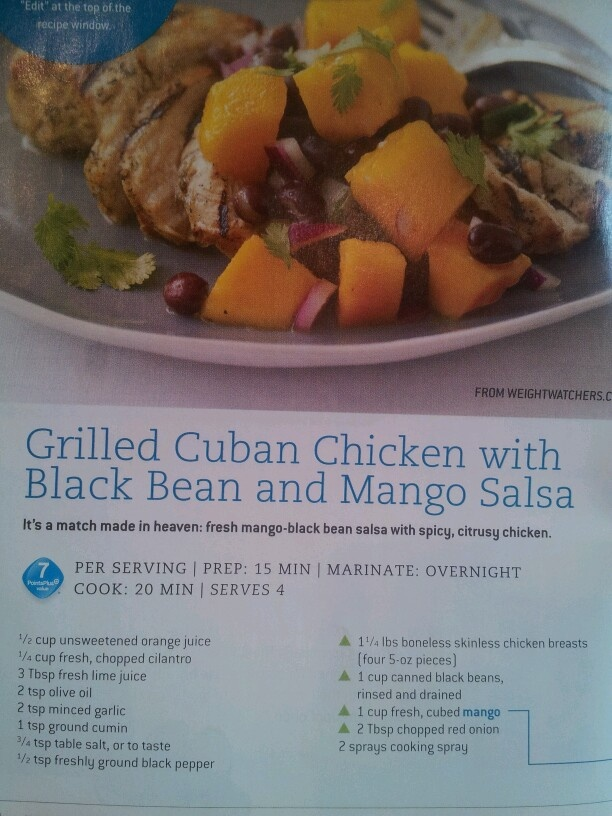 grilled Cuban chicken with black bean and mango salsa