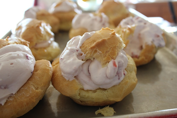 Strawberry cream puffs. | Everything - Strawberry | Pinterest
