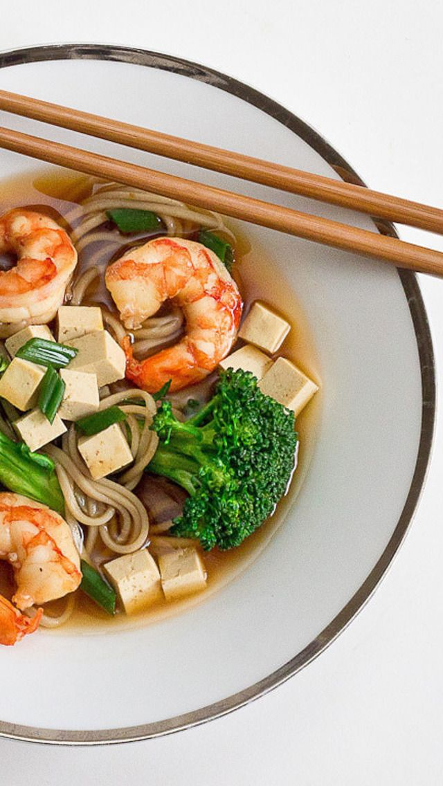 Soba Noodle Miso Soup with Broccoli, Shrimp and Tofu