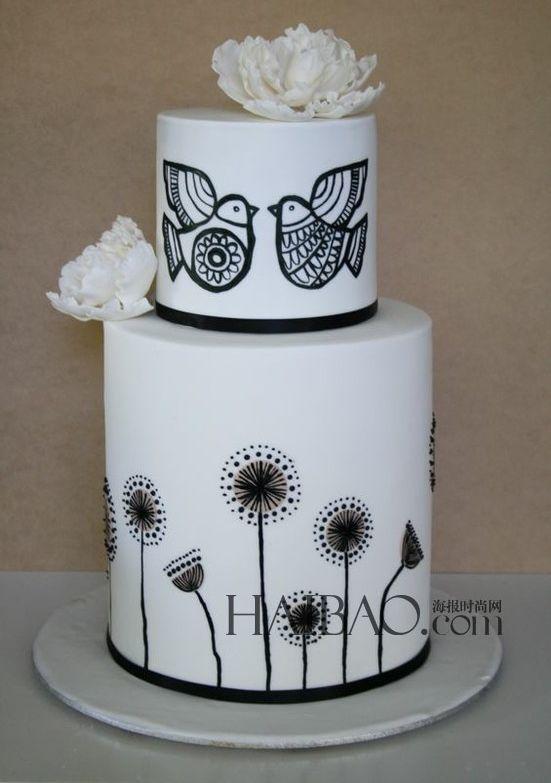 Black and white wedding cake.   Wedding cakes   Pinterest