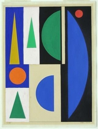 Jour (Day). 1953 The style of art created by French painter Auguste Herbin (1882-1960) ranged greatly throughout his career; evolving from Impressionism to Cubism and lastly geometric abstraction. In 1909 he moved into the famous Bateau-Lavoir Studios in Paris, where he shared walls with Picasso and Braques. Sadly, in 1953 Auguste was inflicted with one of the worst ailments that an artist could suffer, lateral paralysis, forcing him to re-learn to paint with his left hand.