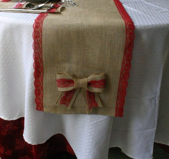 Burlap christmas table runner with bow and red lace for Burlap christmas table decorations