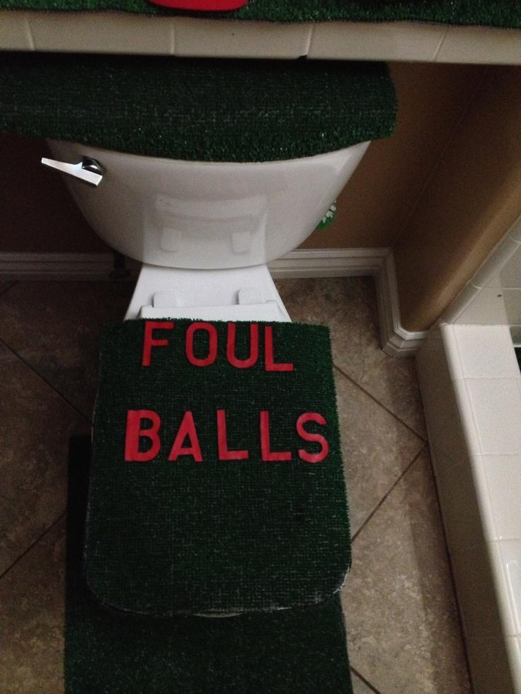 Bathroom ideas for baseball party baseball pinterest for Baseball bathroom ideas