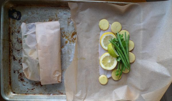 ... at our house. fish in parchment paper, via Dinner: A Love Story #fish