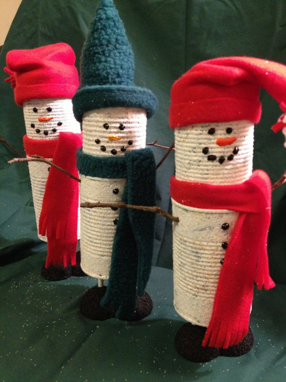 Tin can snowman family holiday winter decoration for Christmas crafts out of tin cans