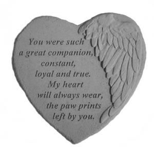 "Our Winged Heart Pet Companion Garden Stone will be a cherished pet sympathy garden accent or burial marker to honor the memory of a loving animal angel companion.  This heart-shaped pet memorial garden marker is 9"" x 9"" and features a debossed angel wing on the right side of the heart.   Its sentiment reads:  ""You were such a great companion, constant, loyal and true, My heart will always wear the paw prints left by you.""  $37.00, includes shipping within the U.S. (only)."