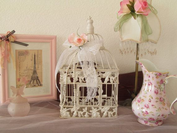Shabby Bird Cage / Decorative Bird Cage / Shabby Chic Decor / Pink Decor / Lace and Pearls
