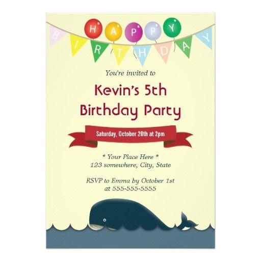 Happy Cute Blue Whale Birthday Invitations