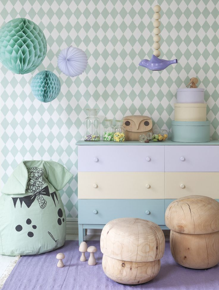 Geometric paper Wallpaper HARLEQUIN by @ferm LIVING #kids #design #harlequin - Therese Winberg photography, Linda åhman styling
