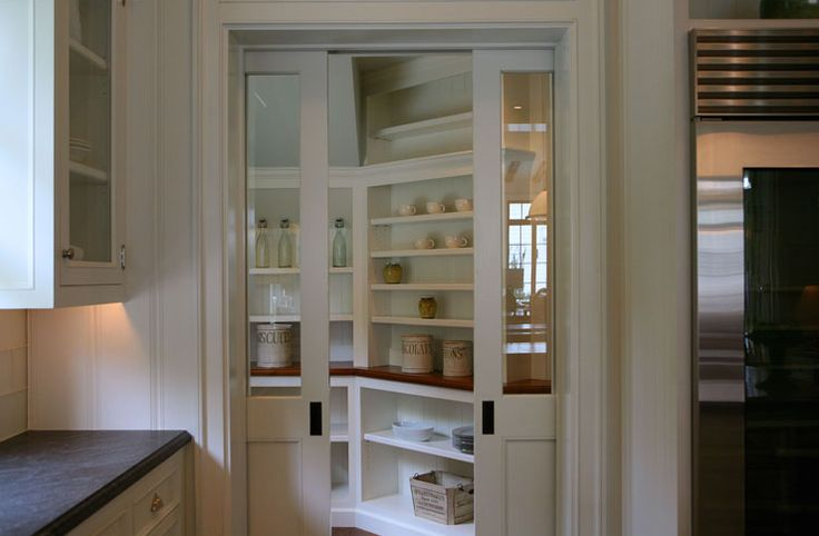 Coolest pantry with glass sliding doors kitchen ideas for Sliding pantry doors