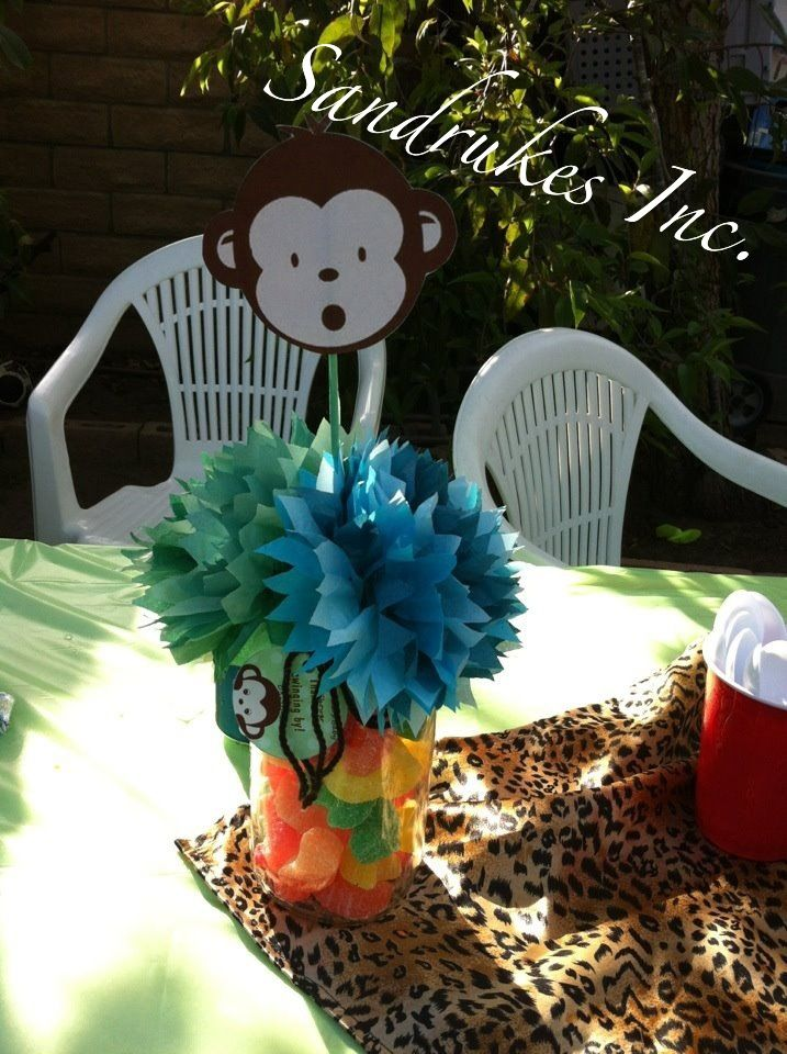 monkey centerpiece baby shower party ideas pinterest