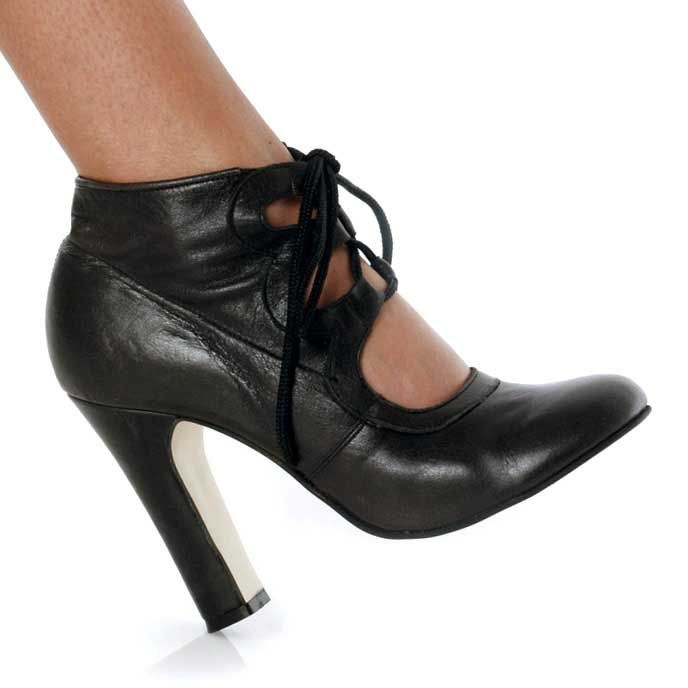 Karo Shoes 893 Black Leather SPECIAL - 4.75 Inch Heel Size 13 Black
